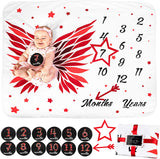 Elnor Baby Monthly Milestone Blanket for Baby Girl or Boy - 12 Months Milestone Stickers Age - Unique for Newborns - Growth Memory Marker Chart for Personalized Infants Pictures - Props