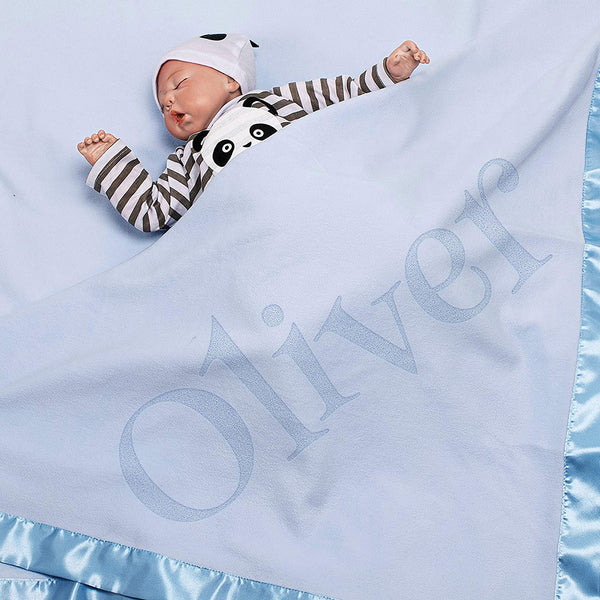 Personalized Baby Blankets Newborn Gifts for Boys, Girls Nursery Décor with Your Text 3 Options D9