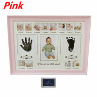 Baby Handprint Footprint Photo Frame with Stamp Ink Newborn Decor Gift Kids Imprint Hand Inkpad Souvenirs E65D