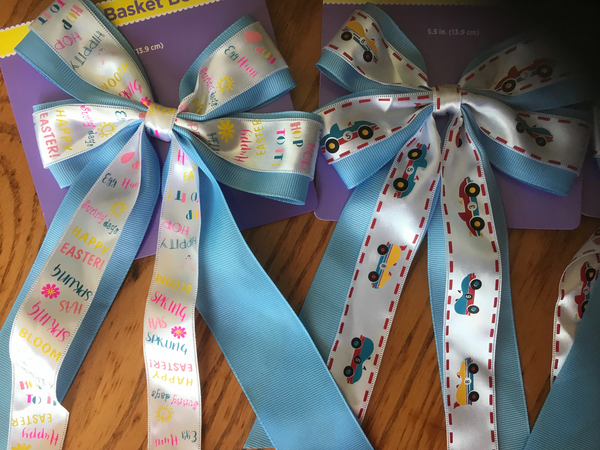 "(7) 5.5"" ribbon gift bows pink blue Easter baskets baby shower"