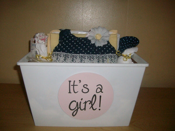 """It's A Girl"" 20 piece Baby Shower Gift Basket or Centerpiece"