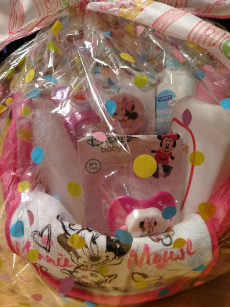"""It's a Girl"" Minnie Mouse Handmade Gift Basket"