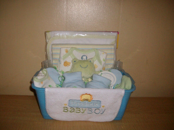 """Precious Baby Boy"" 18 Piece Baby Shower Gift Basket or Centerpiece"