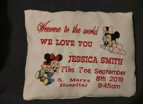 Personalised Embroidered pillow Baby Birth Details Baby gift Christen