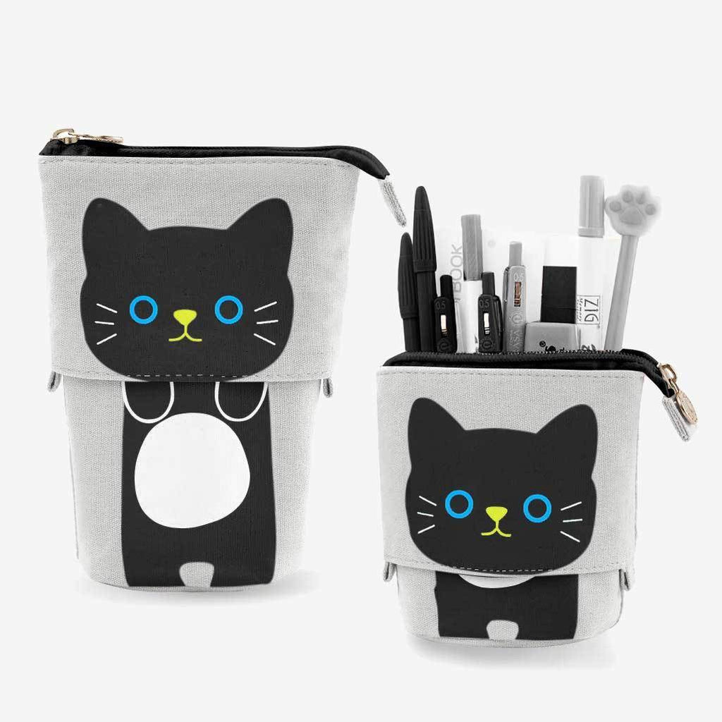 Black Cat Sliding Pencil Case - PushCases ™