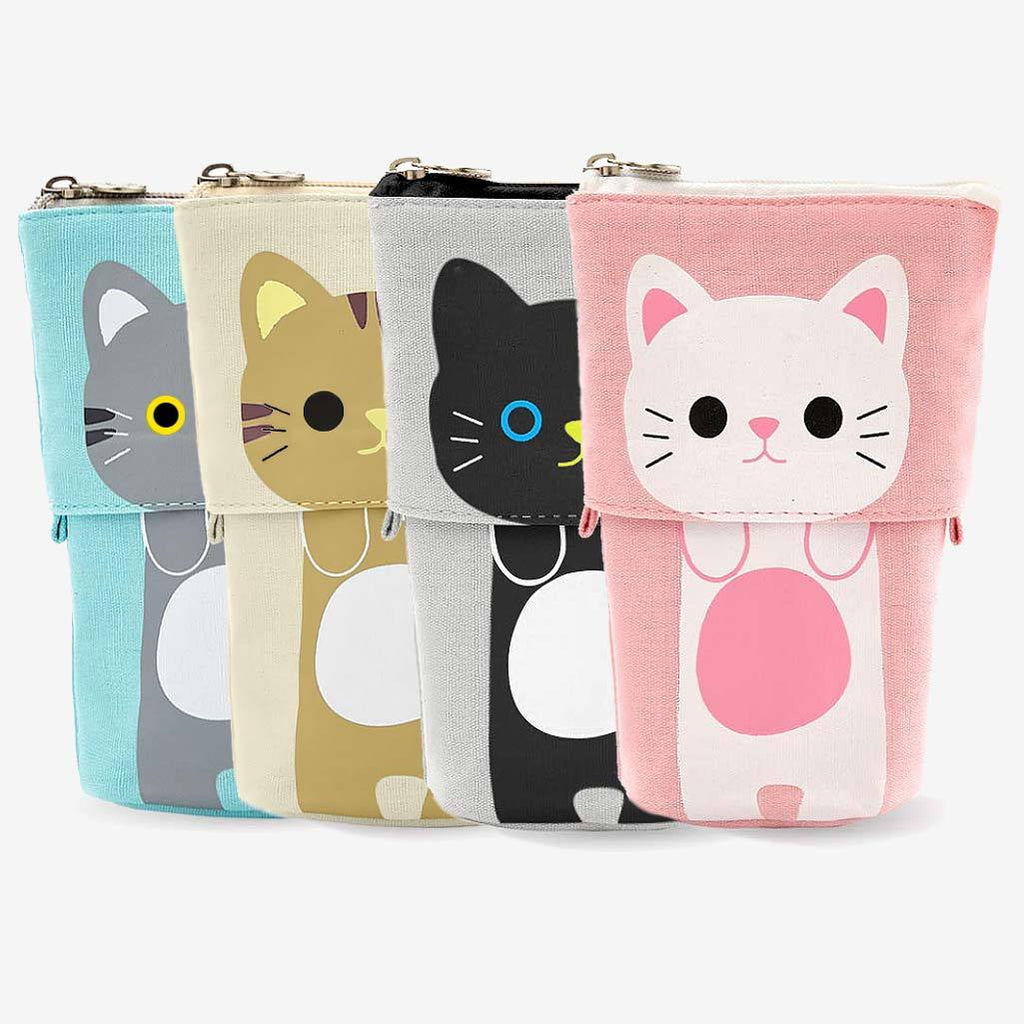 Cute Cat Sliding Pencil Case 4 pack set, made by PushCases