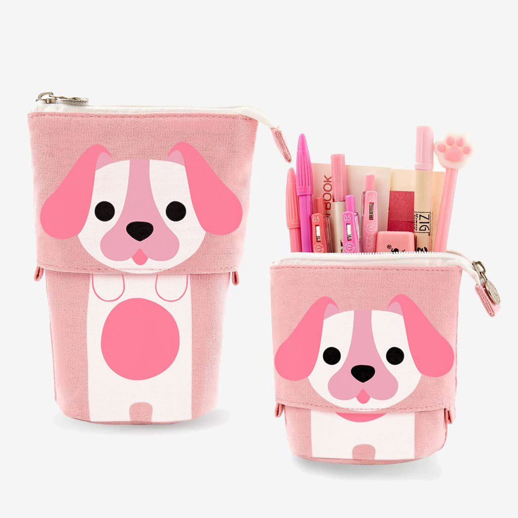 Cute Puppy Dog Sliding Pencil Case, pink color, made by PushCases
