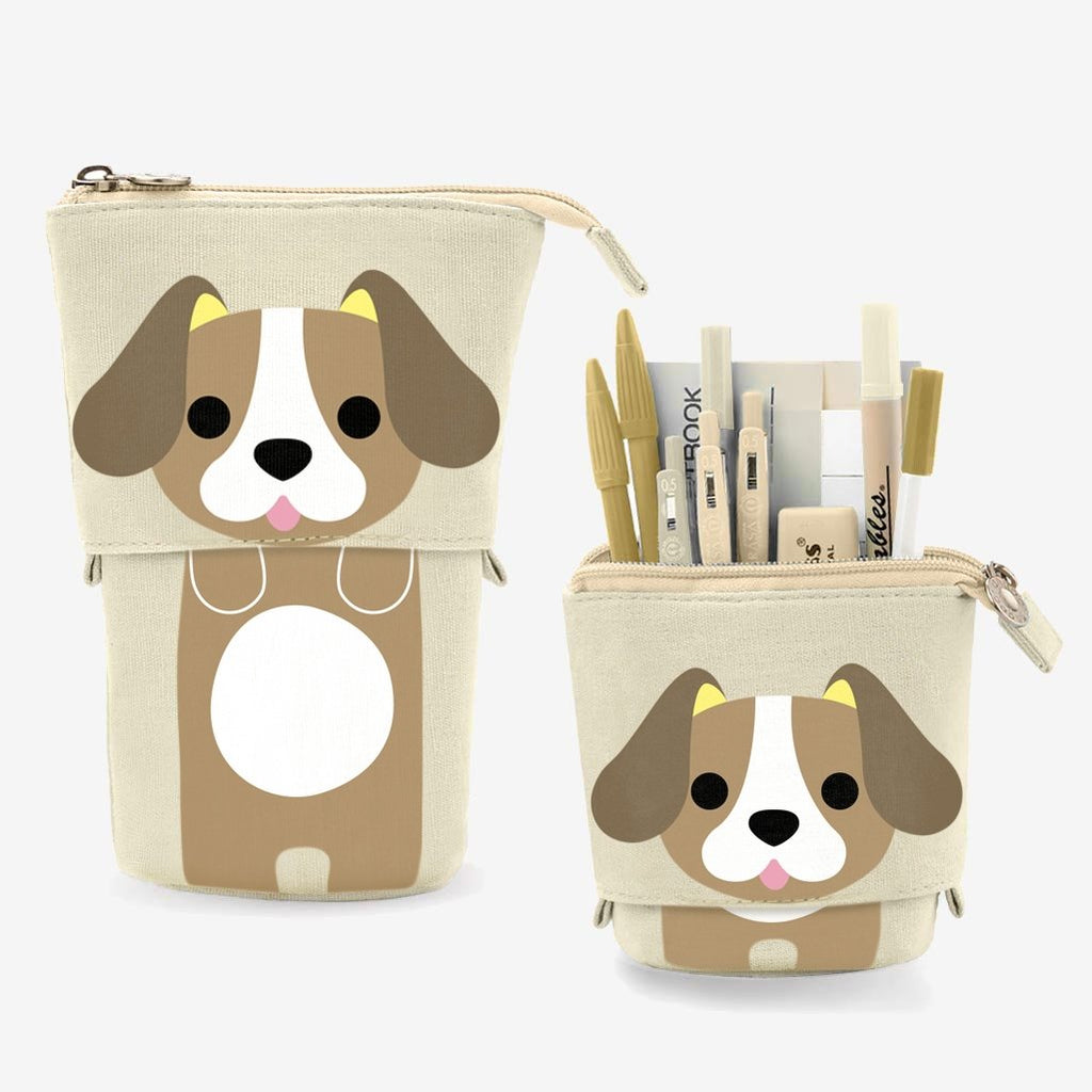 Cute Puppy Dog Sliding Pencil Case, brown color, made by PushCases