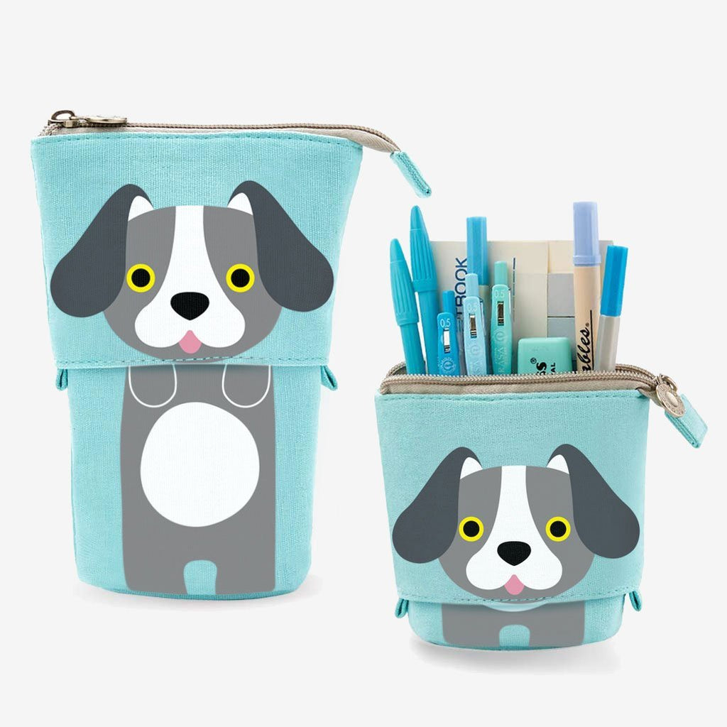 Cute Puppy Dog Sliding Pencil Case, blue color, made by PushCases