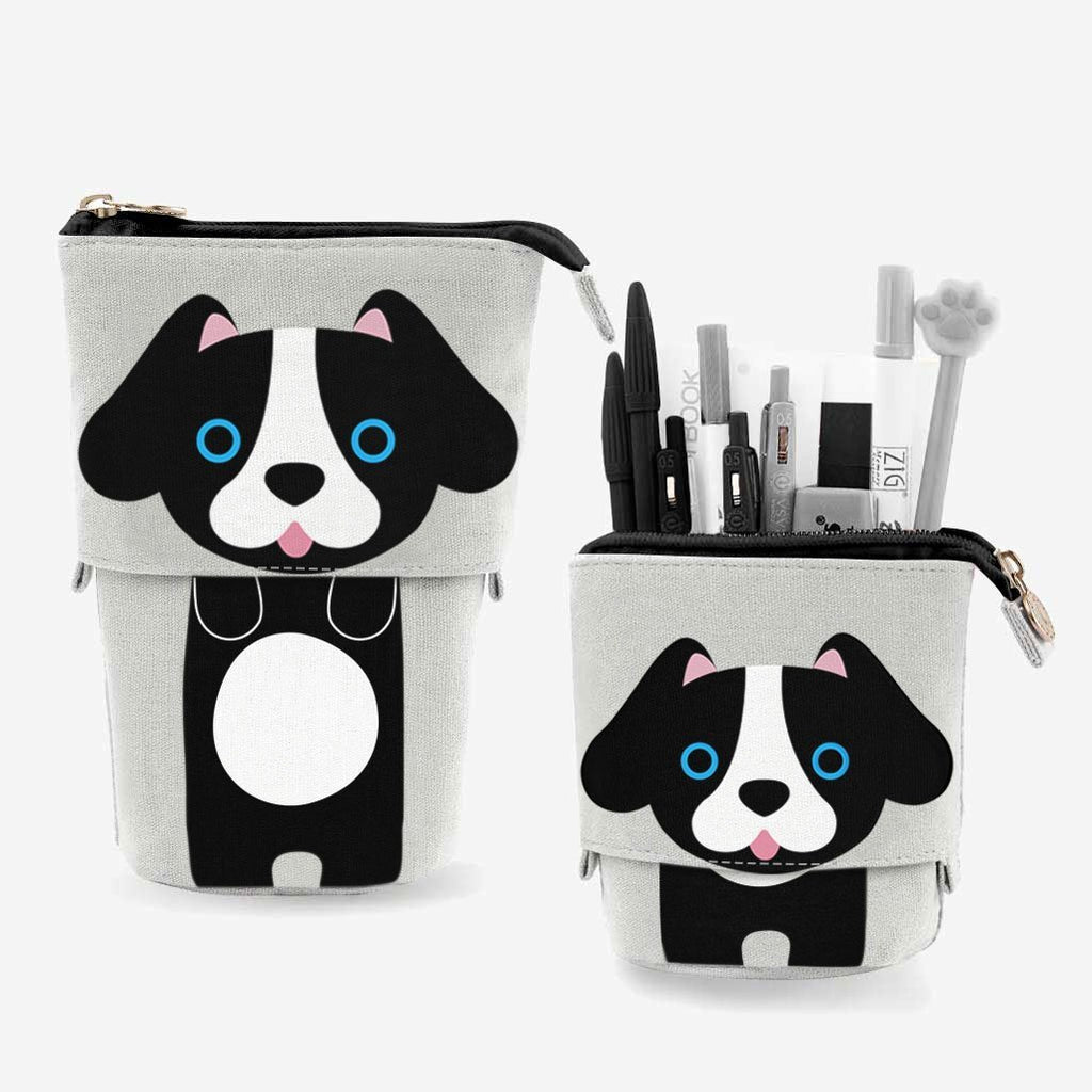 Cute Puppy Dog Sliding Pencil Case, black color, made by PushCases