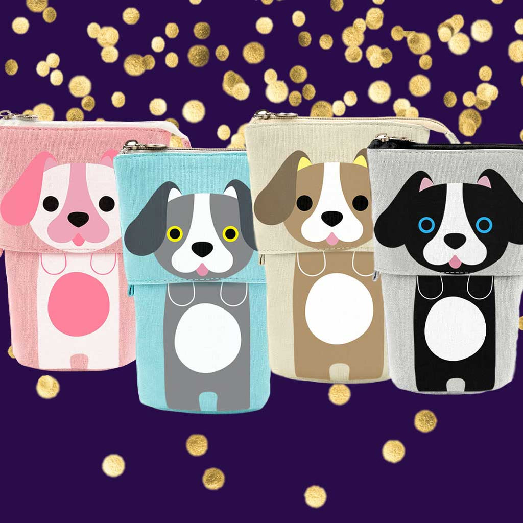 Cute Puppy Dog Sliding Pencil Case, 4 pack set, made by PushCases