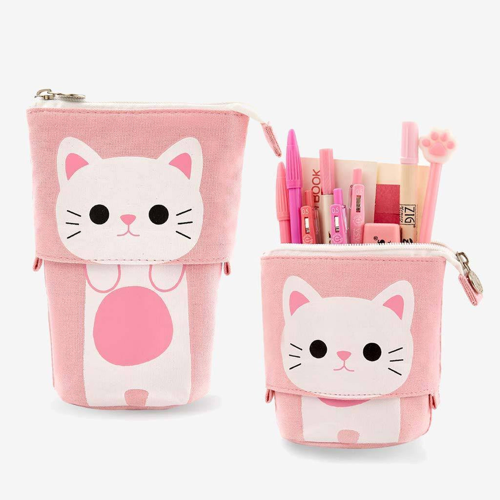 Pink Cat Sliding Pencil Case - PushCases ™