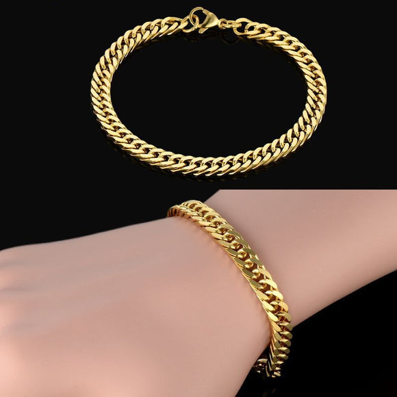 Thick Bracelet 18k Real Gold Plated