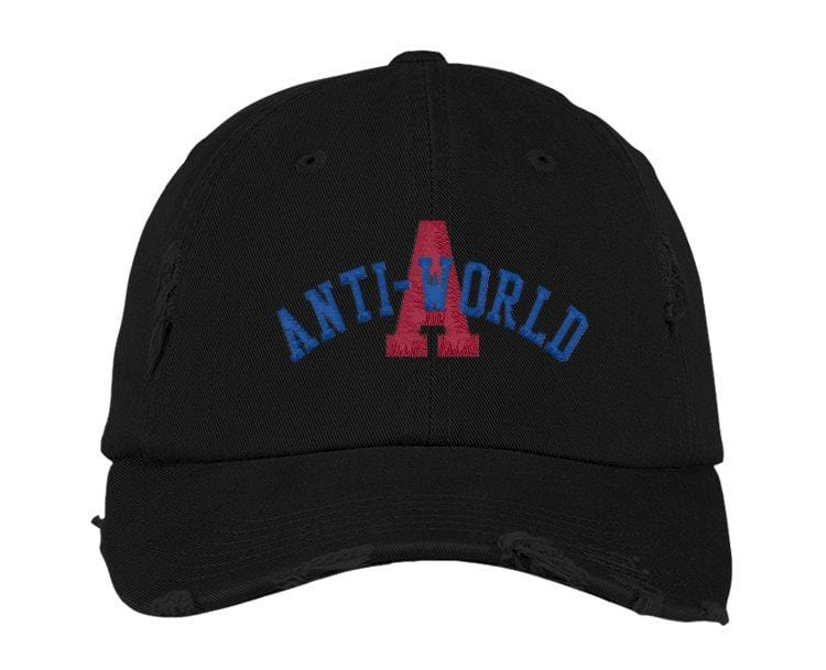 Anti-World University Distressed Black Cap