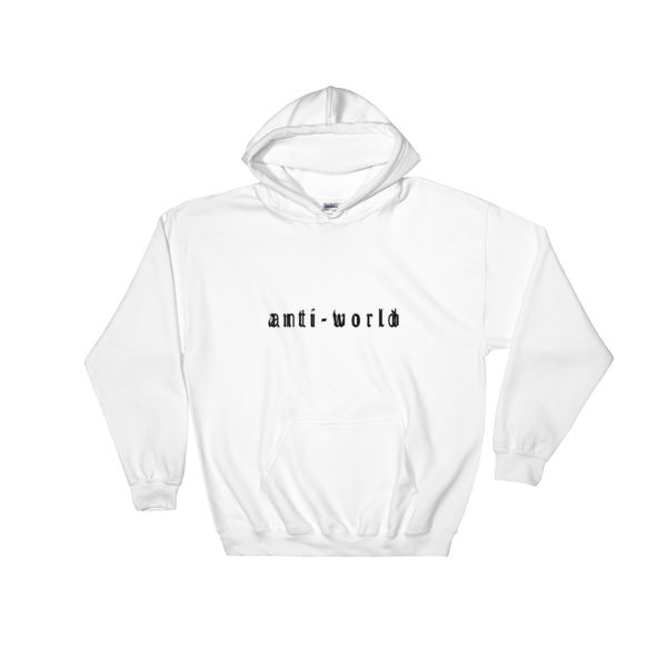 Anti-World Text Logo White Hooded Sweatshirt