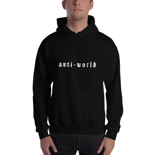 Anti-World Text Logo Black Hooded Sweatshirt