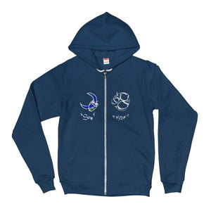 """Sun & Moon Syde by Syde"" (Nightmode Version) Zip Hoodie"
