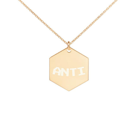 """ANTI"" Engraved Silver Hexagon Necklace"