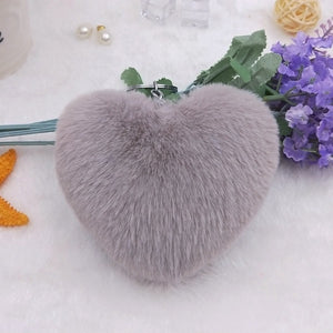 Fluffy Heart Keychain