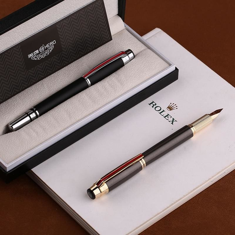 Fountain Pen Matte Black / Gray Golden / Silver Clip Fine Nib Gift Pen and Box - pen