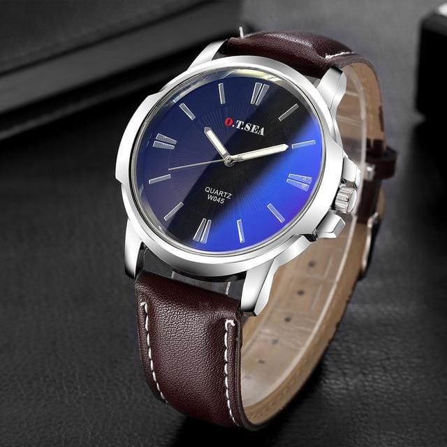 Hot Sales O.T.SEA Brand Retro Design Sports Quartz Wrist Watches - brown blue - watches