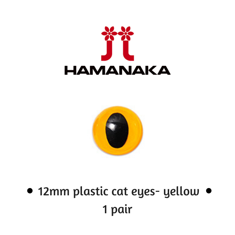 Hamanaka 12mm Cat Eyes - 1 Pair - Yellow