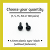 Black Plastic Craft Eyes - 4.5mm (Choose Quantity)