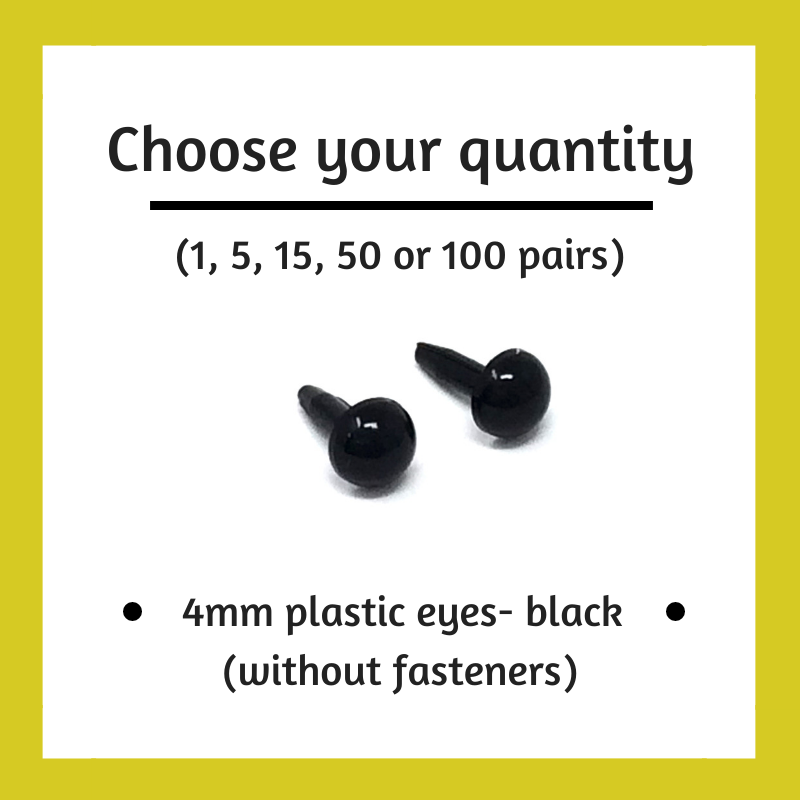 Black Plastic Craft Eyes - 4mm (Choose Quantity)
