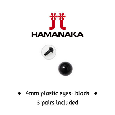Hamanaka 4mm Black Eyes - Pack of 3 Pairs