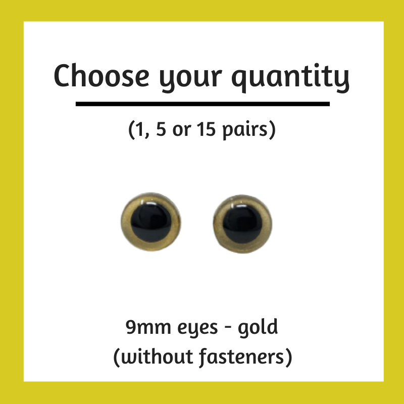 Gold Plastic Craft Eyes - 9mm (Choose Quantity)