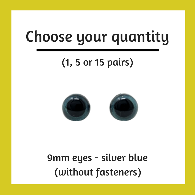 Silver Blue Plastic Craft Eyes - 9mm (Choose Quantity)