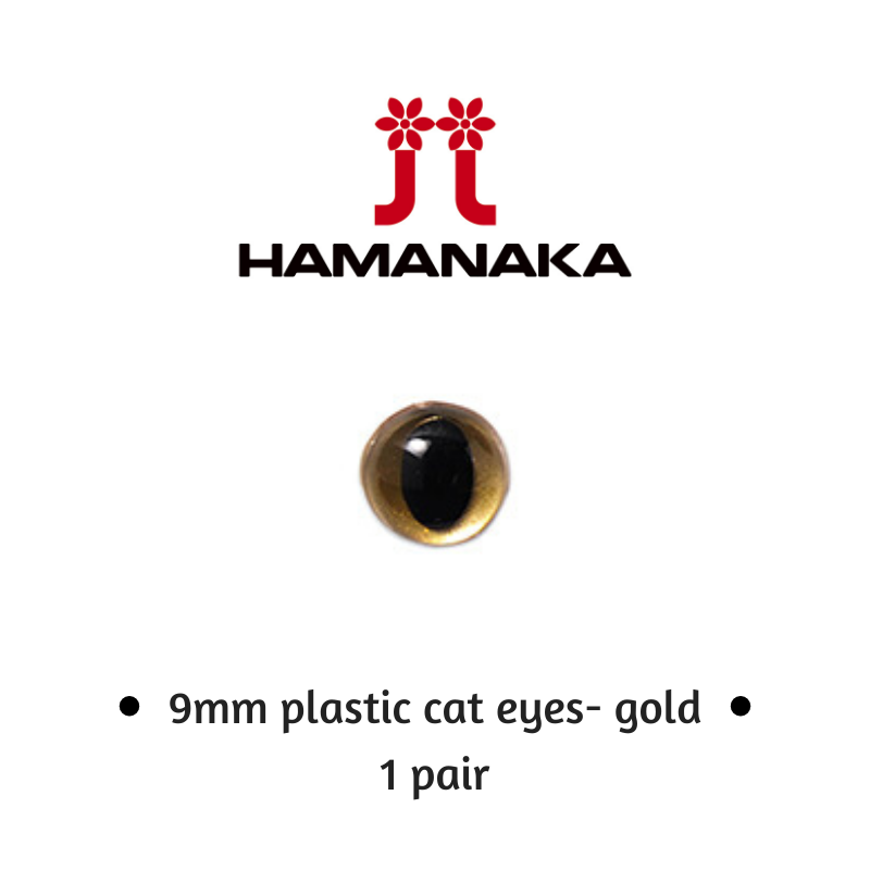Hamanaka 9mm Cat Eyes - 1 Pair - Gold