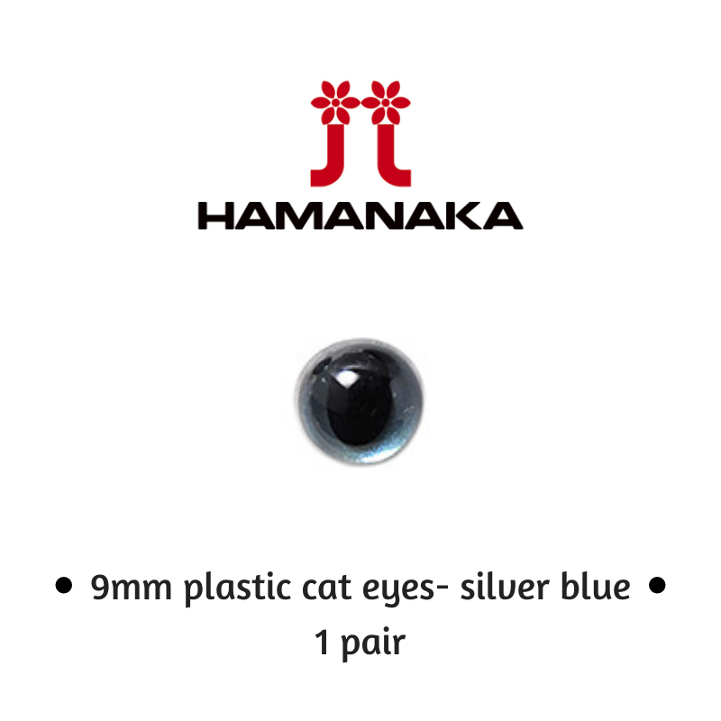 Hamanaka 9mm Cat Eyes - 1 Pair - Silver Blue