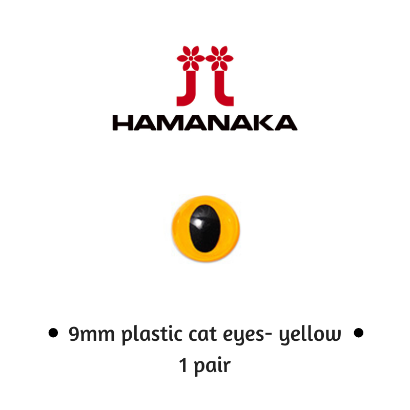 Hamanaka 9mm Cat Eyes - 1 Pair - Yellow