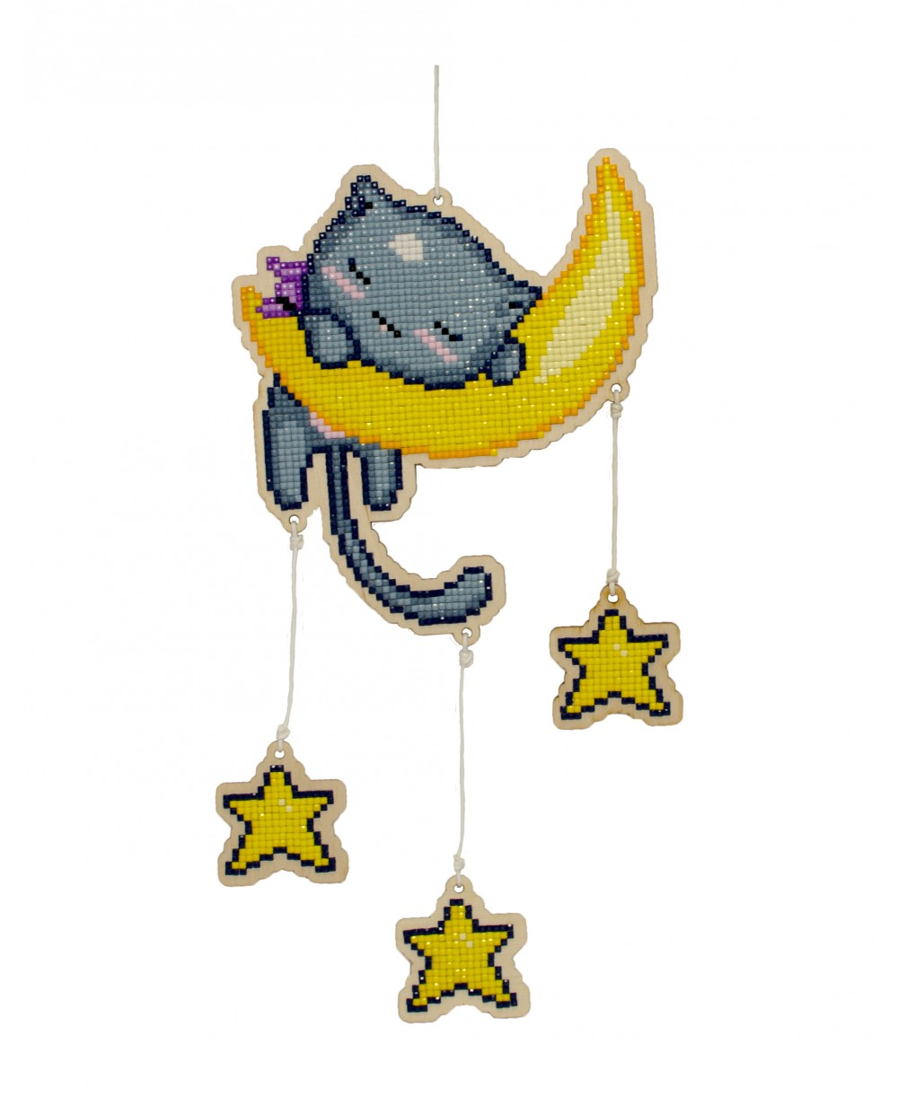 Wizardi Wooden Charms Diamond Painting Kit - Cat in The Moon