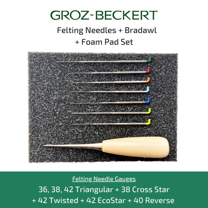 Groz-Beckert Felting Needle, Bradawl and Foam Pad Tool Set