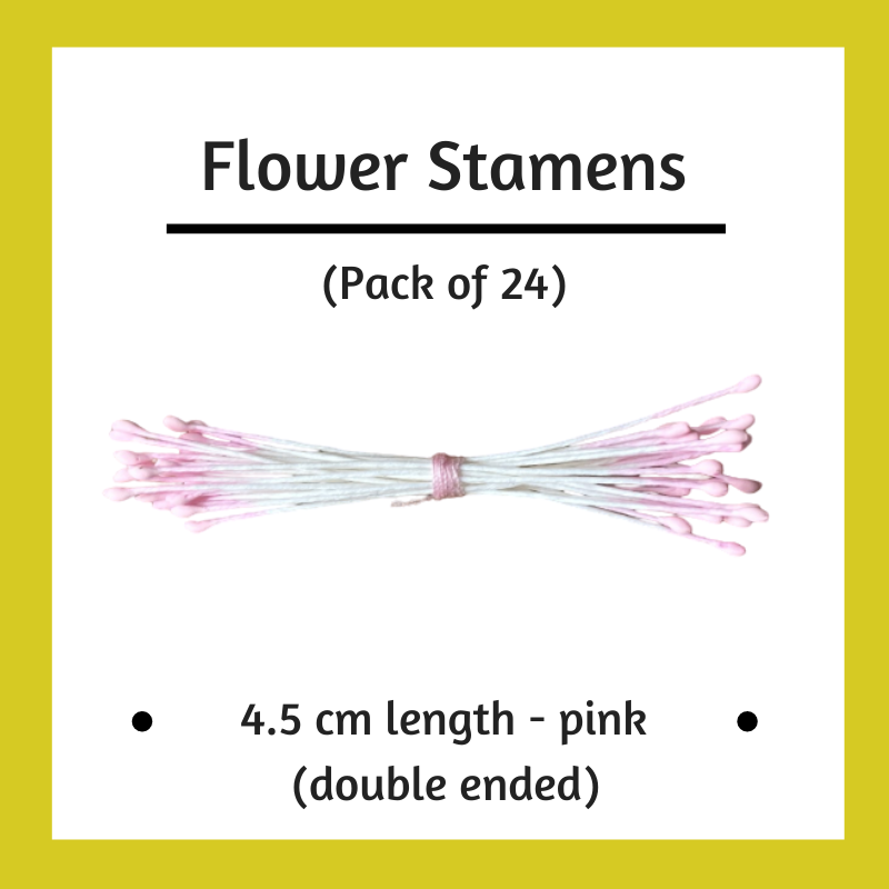 Paper Flower Stamens - Pink - Pack of 24