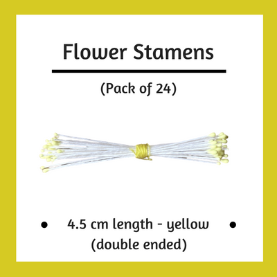 Paper Flower Stamens - Yellow - Pack of 24