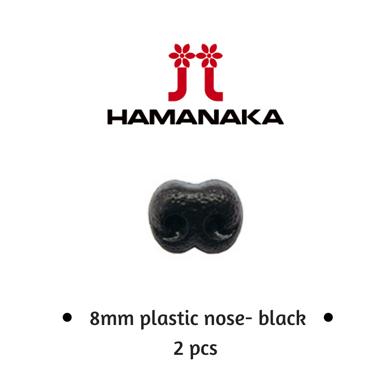 Hamanaka Black Plastic Noses - 8mm (2pcs / pack)