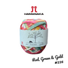 Hamanaka Eco-Andaria Colourful Raffia Yarn - Red, Green & Gold #226