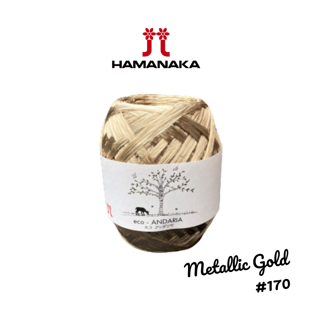 Hamanaka Eco-Andaria Raffia Yarn - Metallic Gold #170