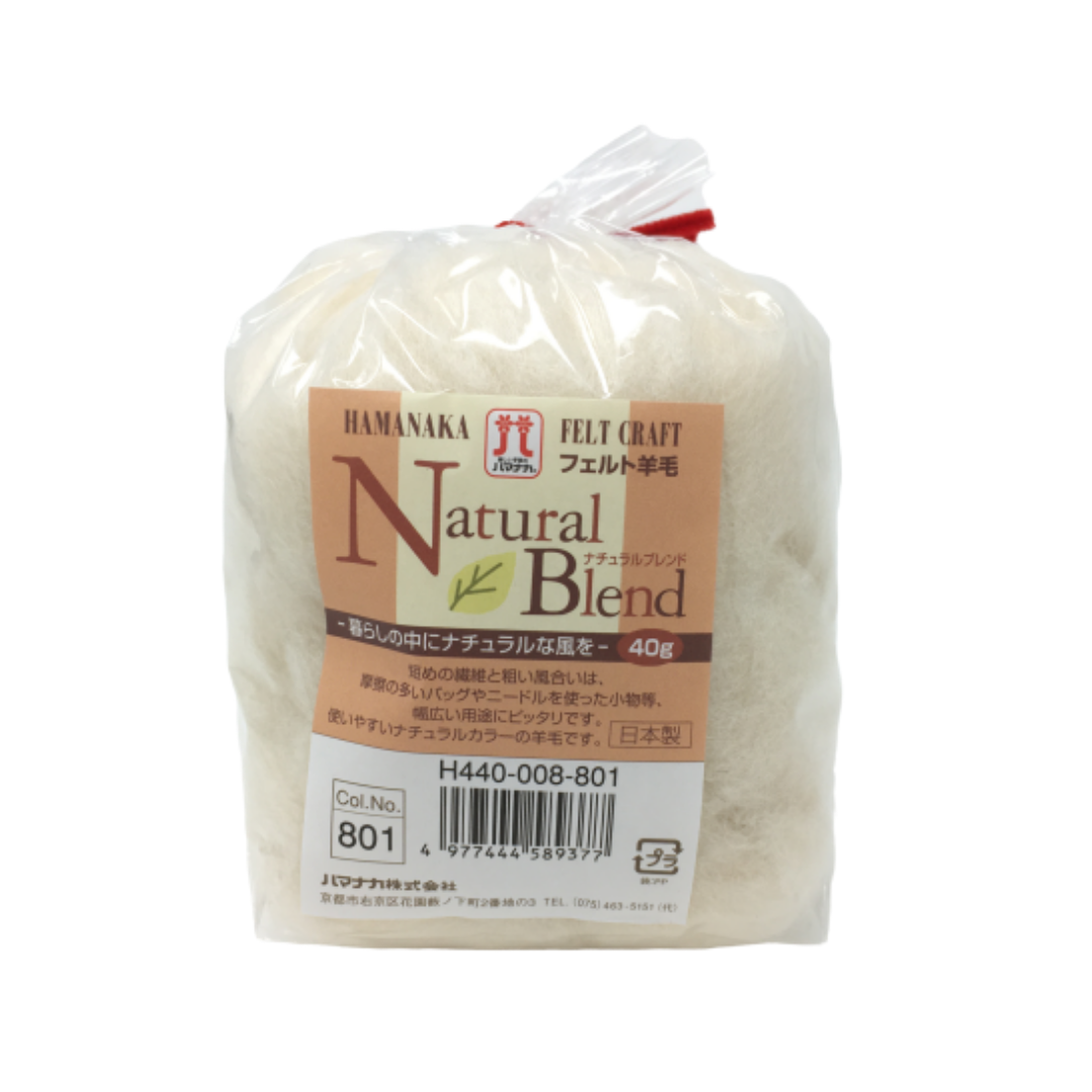 Hamanaka Natural Blend Merino Roving - Cream 40g