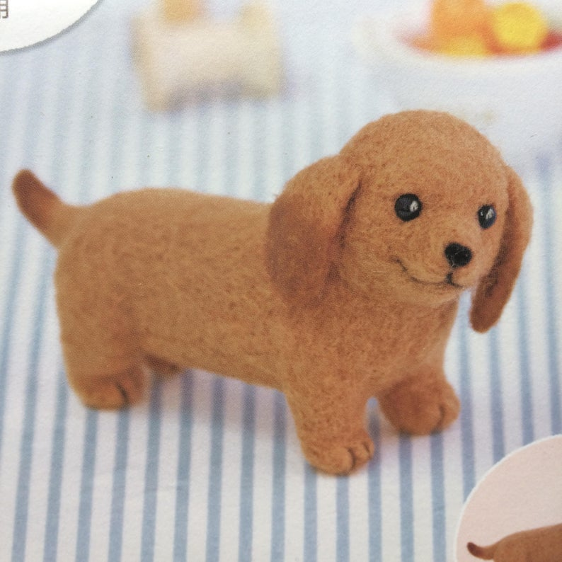 Hamanaka Aclaine Needle Felting Kit - Dachshund (English)