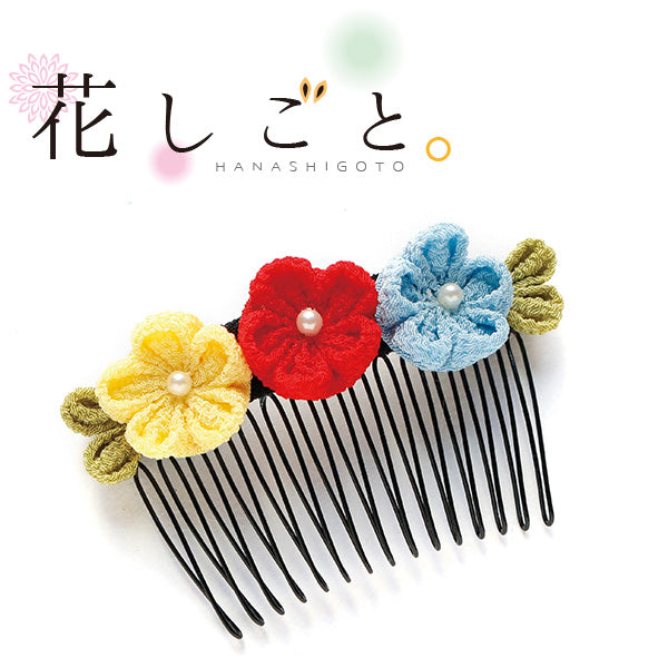 Hanashigoto Tsumami Kanzashi Hair Comb Craft Kit - Red, Yellow & Blue Flowers