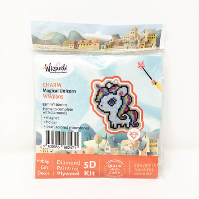 Wizardi Wooden Charms Diamond Painting Kit - Magical Unicorn
