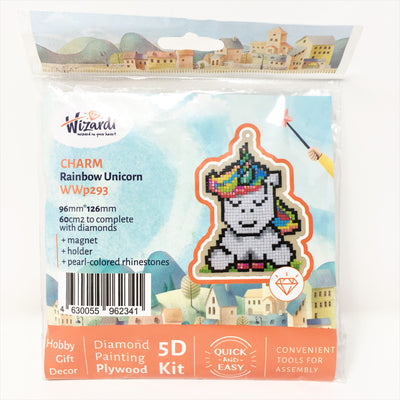 Wizardi Wooden Charms Diamond Painting Kit - Rainbow Unicorn