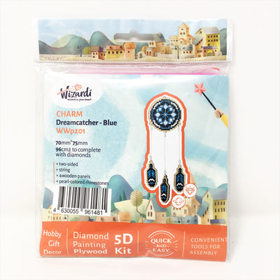 Wizardi Wooden Charms Diamond Painting Kit - Blue Dream Catcher