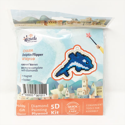 Wizardi Wooden Charms Diamond Painting Kit - Dolphin