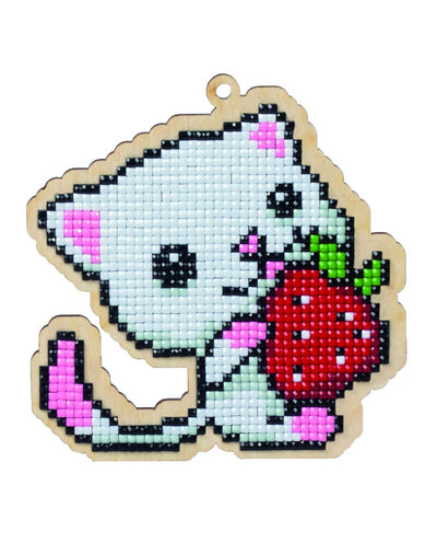 Wizardi Wooden Charms Diamond Painting Kit - Kitten with Strawberry