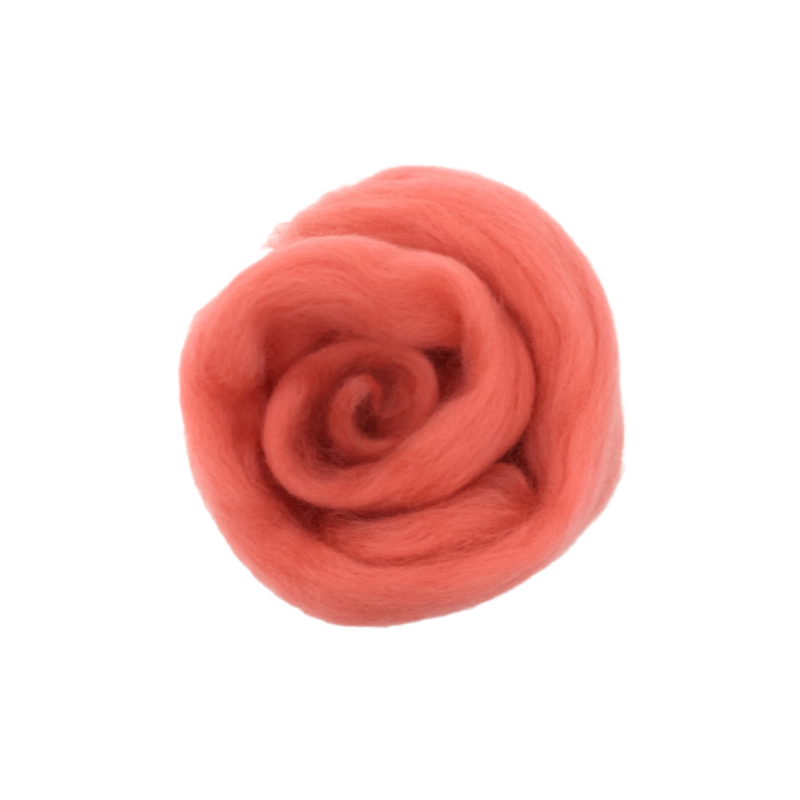 Needle Felting Wool Roving - Coral M021